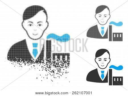 Capitalist Oligarch Icon With Face In Disappearing, Dotted Halftone And Undamaged Whole Versions. Po