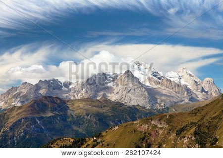 Panoramic View Of Mount Marmolada, The Highest Mount Of Dolomites Mountains, Italy