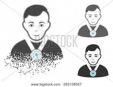 Champion Icon With Face In Dissolving, Dotted Halftone And Undamaged Entire Versions. Points Are Arr