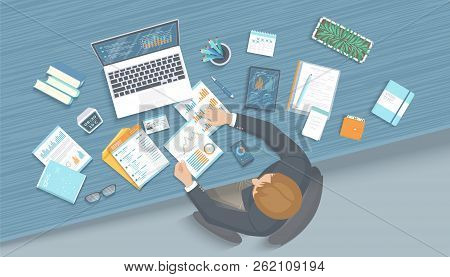 Man Working In Office At The Table. Workplace Desktop Workspace Armchair, Business Office Supplies,