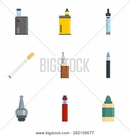 Electronic Cigarette Icon Set. Flat Set Of 9 Electronic Cigarette Vector Icons For Web Design
