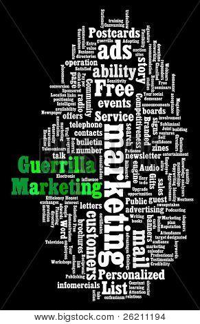 Wordcloud illustration of Guerrilla Marketing on black background