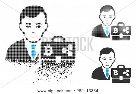 Cryptocurrency Accounter Icon With Face In Disappearing, Pixelated Halftone And Undamaged Entire Ver