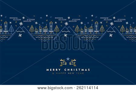 Merry Christmas Happy New Year Gold Greeting Card In Outline Style, Festive City Illustration With G