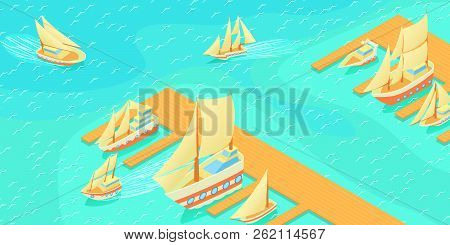 Yachts Pier Horizontal Banner Concept. Cartoon Illustration Of Yachts Pier Horizontal Banner For Web