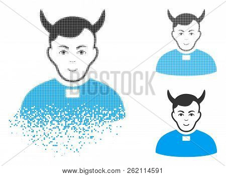 Devil Priest Icon With Face In Dissipated, Dotted Halftone And Undamaged Entire Variants. Particles