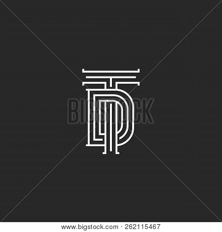 Monogram Td Or Dt Initials Of The Logo, A Combination Of Two Crossed Letters T And D, Wedding Emblem