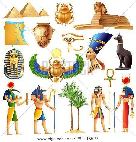 Egypt Symbols Set In Cartoon Style With Ancient Egyptian Deities Pyramid Ankh Tutanhamon Nefertiti