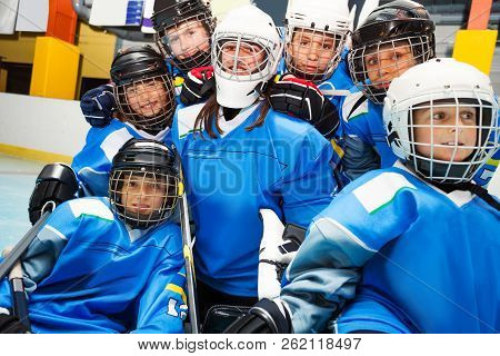 Happy Ice Hockey Team With Goaltender After Game