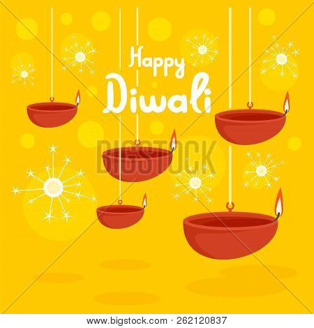 Happy Divali Festival Concept Background. Flat Illustration Of Happy Divali Festival Vector Concept