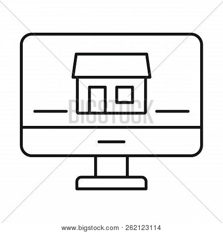 Monitor House Security Icon. Outline Illustration Of Monitor House Security Vector Icon For Web Desi