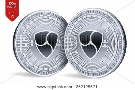 Nem. Crypto Currency. 3d Isometric Physical Coins. Digital Currency. Silver Coins With Nem Symbol Is