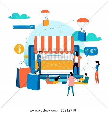 Online Store, Online Shopping, E-shopping, E-commerce, Purchasing Online, Internet Sale Flat Vector