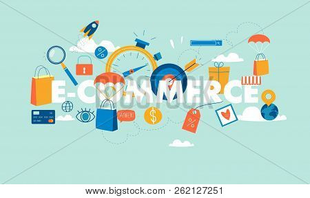 Word E-commerce Flat Business Vector Illustration Design Banner. Concepts For Online Order And Payme