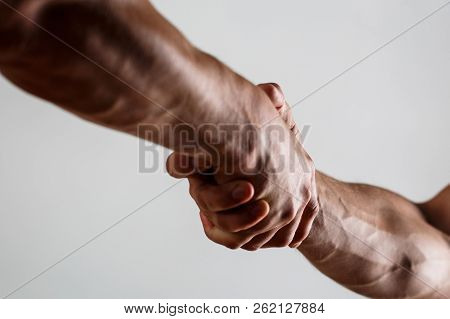 Rescue, Helping Gesture Or Hands. Concept Of Salvation. Two Hands, Isolated Arm, Helping Hand Of A F