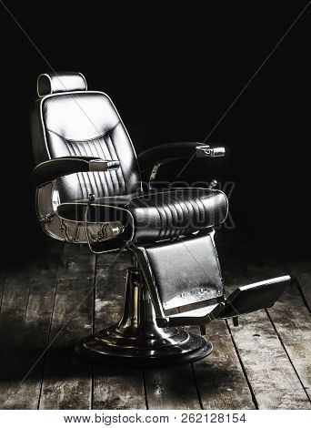 Barbershop Armchair, Modern Hairdresser And Hair Salon, Barber Shop For Men. Beard, Bearded Man. Sty