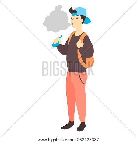 Teenager Holding Vape Or Vaporizer. Teen Smokes Electronic Cigarette. Bad Habits And Nicotine Addict