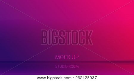 Vector Violet Purple  Gradient Studio Room Backdrop Background.  Mock Up Template Product Display. E