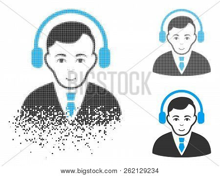 Radio Manager Icon With Face In Dissolving, Dotted Halftone And Undamaged Whole Variants. Particles