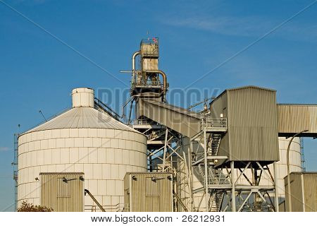 Oil refinery complex with industrial pollution and emissions