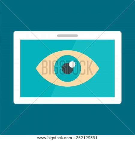 Tablet Vision Icon. Flat Illustration Of Tablet Vision Vector Icon For Web Design