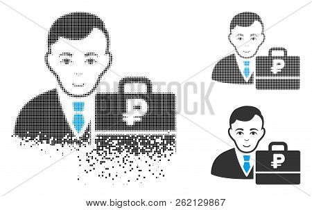 Rouble Accounter Icon With Face In Disappearing, Pixelated Halftone And Undamaged Entire Versions. P