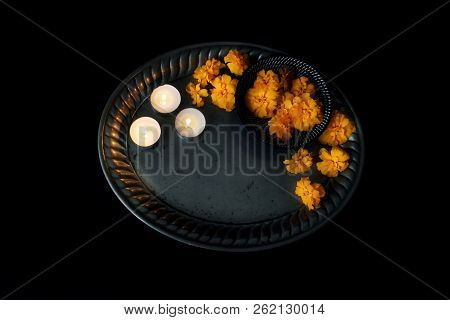 Dia De Los Muertos, Mexican Day Of The Dead Table Scene. Orange Tagetes, Marigold Flowers And Burnin