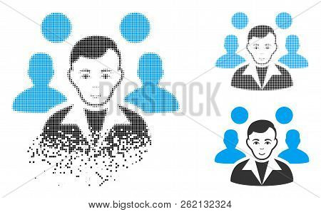Staff Leader Icon With Face In Disappearing, Pixelated Halftone And Undamaged Entire Versions. Fragm