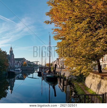 Tranquil Sunny Autumn Morning In Rotterdam Delfshaven, Historic Buildings, Boat And Large Chestnut T