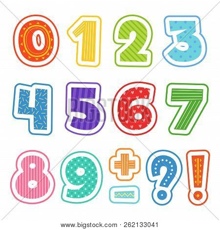 Cartoon Numbers. Colored Fun Alphabet For School Kids Vector Text Clipart Illustrations Isolated. Co