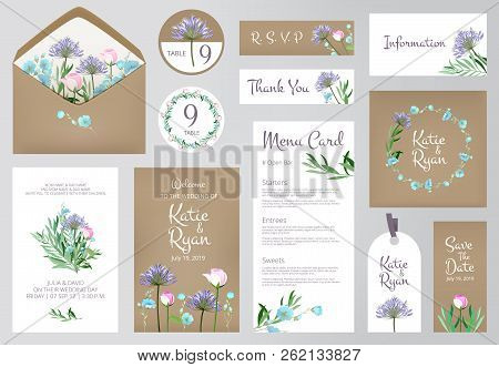 Floral Invitation Cards. Beautiful Wedding Love Greeting Beauty Invited Vector Backgrounds. Floral D