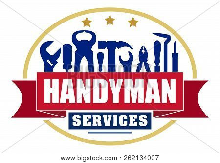 Handyman Services Colorful Oval Vector Design For Your Logo Or Emblem With Red Banner And Set Of Wor
