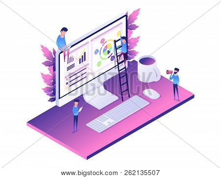 Modern Web Concept Flat Isometric Design Of Data Analysis. Computer, Diagram, People Helping Create