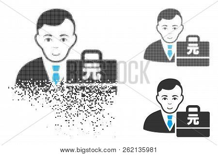 Yuan Renminbi Accounter Icon With Face In Dissolved, Pixelated Halftone And Undamaged Entire Version