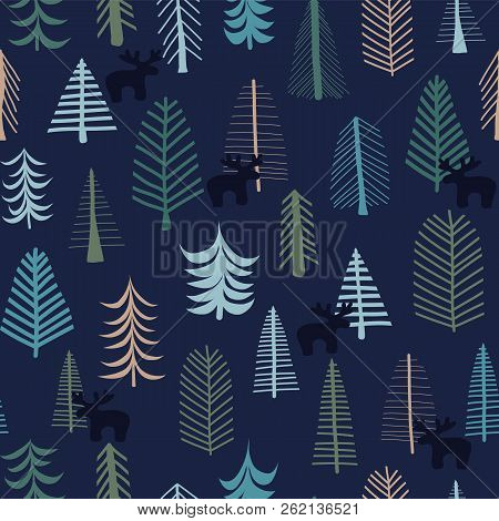 Reindeer And Trees Christmas Holidays Seamless Pattern. Hand Drawn Vector Illustration. Festive Blue