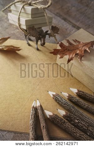 Wooden twig Pencils and paper
