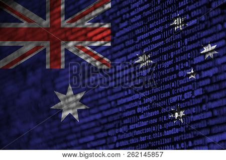 Australia Flag  Is Depicted On The Screen With The Program Code. The Concept Of Modern Technology An