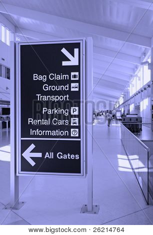 Direction signs in an airport terminal for travelers