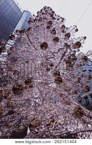 Budapest, Hungary - January 01, 2018: The Christmas Tree In The Fashion Street With Christmas Decora