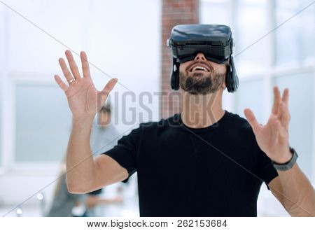 Male handsome patient with modern VR goggles