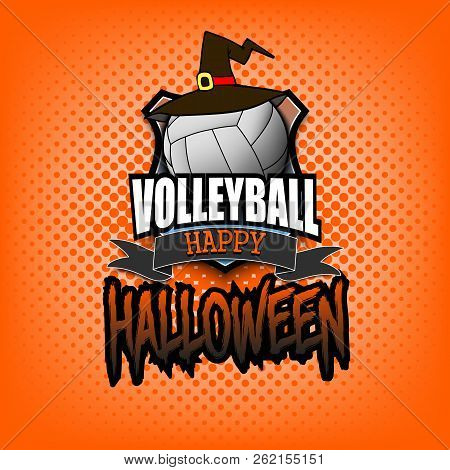 Halloween Pattern. Volleyball Logo Template Design. Volleyball Ball With Witch Hat. Pattern For Bann