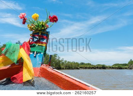 Khao Daeng Canal Boat Trip At Prachuap Khiri Khan Thailand. Boat Or Fishing Boat With Blue Sky And C