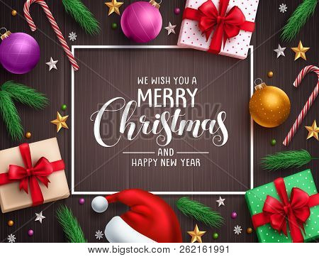 Christmas Background Vector Banner With Christmas Elements, Colorful Decorations And Greeting Text I