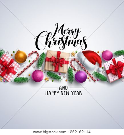 Christmas Card Vector Banner With Merry Christmas Greeting Text, Colorful Elements And Ornaments Lik