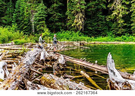 Coquihalla Summit, British Columbia, Canada - Sept 1, 2018: Fishing In The High Alpine In Falls Lake