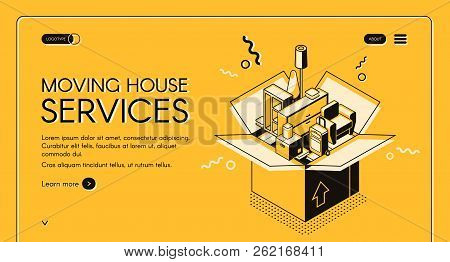 Moving House Services Vector Web Banner With Home Furniture In Cardboard Box Isometric Line Art Illu