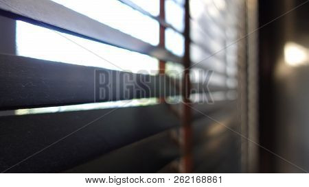 Evening Sun Light Outside With Wooden Made From Bamboo Window Blinds, Decoration Interior Home Conce