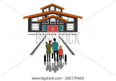Family Parents Will Be Living In A New House On White Background,business Home