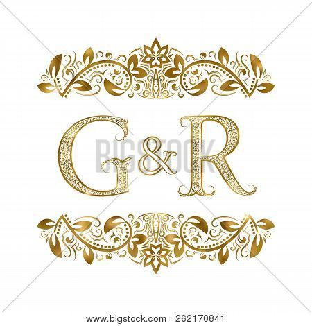 G And R Vintage Initials Logo Symbol. The Letters Are Surrounded By Ornamental Elements. Wedding Or