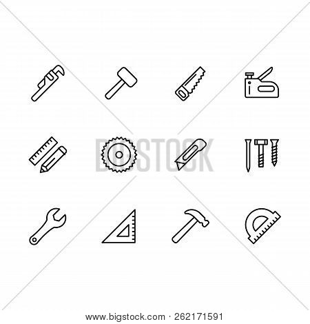 Simple set work tools, joinery tools, craft workshop and home repair work vector line icon. Contains such icons adjustable wrench, sledge hammer, saw, wrench, knife, bolts, screws, nuts, fasteners. poster